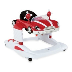 Combi - Combi All-in-One Mobile Entertainer in Red - This All-In-One Mobile Entertainer with a classic car-inspired look provides a playful, stimulating experience for your toddler. Features a lockable bounce function, 3 height positions, anti-skid pads, and a steering wheel that lights up and makes sounds.