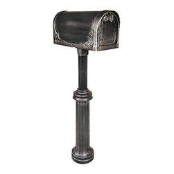 Bradford Mailbox and Post Set - The elegant style of this mailbox and post set is evident in its ribbed column, wide base, and floral decorated box.  Three leaves come together to form a handle, while beautiful sculpted foliage adorns the edges of the mailbox.