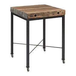 Urban Evolutions - Reclaimed Mod Dinette - Our Pecan modular factory flooring slabs give unique character to this counter-height table. Set on a wheeled base for versatility.