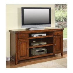 Winners Only - Mango 66 in. TV Cabinet - Two doors and drawers. Open shelves. 66 in. W x 19 in. D x 36 in. H