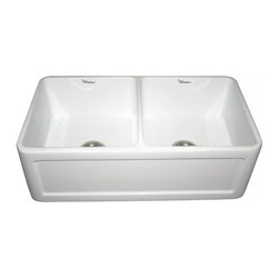 Whitehaus - Reversible 15.38 in. Fireclay Farmhaus Double - Color: WhiteConcave and fluted front apron on sides. Sink tapers slightly on sides. 3.5 in. center drain. Finished on all four sides. Inside: 15.38 in. W x 16.5 in. D x 8.5 in. H. Outer: 33 in. W x 18 in. D x 10 in. H (120 lbs.). Warranty. Care Instructions