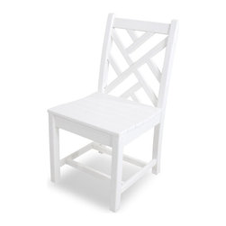 Polywood - Eco-friendly Side Chair in White - Set of 2 - Show off your exquisite sense of style with the Polywood Chippendale Dining Side Chair. When paired with one of our traditional dining tables, this attractive chair adds both elegance and warmth to your outdoor entertaining space. Its also available in several fade-resistant finishes, giving it the appearance of painted wood but without all the maintenance wood requires. You'll also appreciate how good this eco-friendly chair will look over the years. Polywood lumber requires no painting, staining, waterproofing, or similar maintenance. It is resistant to corrosive substances, insects, fungi, salt spray and other environmental stresses.