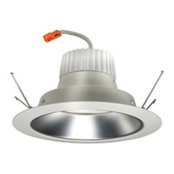 Juno Lighting - J6RLG3 6 Inch 600 Lumen Alzak Retrofit Downlight Trim - All-in-one 6 inch LED retrofit downlight trim installs into existing 6 inch incandescent housings with medium base sockets or Juno IC23-LEDT24 and IC23R-LEDT24 quick connect recessed housings.  May be used in housings completely covered with insulation. Available in White trim with Clear, White, Haze or Wheat Haze reflector.  Also available in White trim with White or Black baffle.  Selection of interchangeable baffle and cone trim inserts can be changed in the field to customize the look of the product.  Aluminum housing with white painted flange as standard.  LED light engine mounts directly to trim.  LED array integrated to one piece thermally conductive housing and light engine incorporates the latest generation high lumen output LED array.  Available in 2700K, 3000K, 3500K, or 4100K color temperature, 83 CRI.  Comparable light output to 65 watt BR30 incandescent while consuming less than 11 watts.  Dedicated 120 volt driver.  Dimmable with most standard or electronic low voltage dimmers.  Life rated for 50,000 hours at 70 percent lumen maintenance.  7.6 inch outside diameter x 5.6 inside diameter x 4.75 inches high.