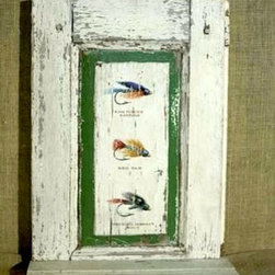 Fishing Flies On Painted Shutter - Made by http://www.ecustomfinishes.com