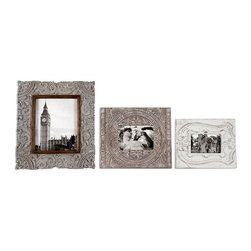 Askan Photo Frames - Set of 3 - 4 x 6, 5 x 7, 8 x 10 - A stunning set of three delicately carved wood frames that each compliments the othe gorgeously. The Askan photo frames boast meticulous detailing and an antique feel that will look simply lovely filled with your favorite black and white memories. Perch these three frames in a collection on a dresser in your guest bedroom or on your living room console to be admired by everyone who enters your home.