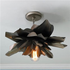 Eclectic Flush-mount Ceiling Lighting Vintage Magnolia Blossom Semi Flush Ceiling Light - Shades of Light