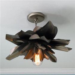 Vintage Magnolia Blossom Semi Flush Ceiling Light - Shades of Light -