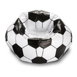 Ace Bayou Soccer Ball Bean Bag Chair - When the game's over and the shin guards come off, it's time for your little Pelé to unwind in the Ace Bayou Soccer Ball Bean Bag Chair. This goal of a bean bag chair features an easily cleaned vinyl exterior and plush, comfortable bead filling.About Ace Bayou CorporationAce Bayou Corporation was founded in 1986 and has grown into a group of diverse, lifestyle-focused divisions. They all feature innovative, quality products at prices that allow everyone to enjoy the benefits. Their lifestyle furniture division features youth and adult casual furniture, including unique bean bags, video rockers, recliners, and special seating products. As a recognized innovator in these categories, Ace Bayou provides products that fit your lifestyle.