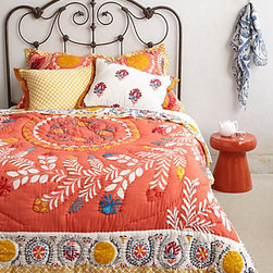 Anthropologie - Zocalo Embroidered Quilt - This looks like comfy place to land after a long day! It's a great punch of color to refresh your soul and get you ready for what the evening holds.