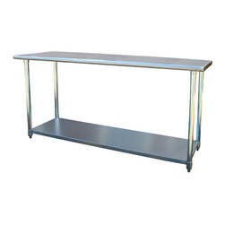 New Buffalo Corp. - Sportsman Series Stainless Steel Work Table 24 x 72 Inches - The Sportsman Series Stainless Steel Work Table is the perfect addition to your kitchen, garage, or basement. A smooth 24 x 72 in. work surface is ideal for preparing and processing sauces, meats and vegetable, and is large enough to complete most arts and crafts projects.
