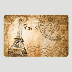 World Market - Vintage Paris Cushioned Floor Mat - Stylish and functional, our Vintage Paris Cushioned Floor Mat protects your floors from soil and spills while looking chic at the same time. With a nostalgic Parisian postcard design, this cozy mat feels great underfoot in the kitchen, bathroom or laundry room. Plus, it's machine washable and features skid-resistant backing so it won't slip out of place.