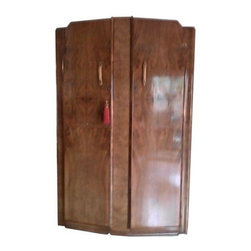 """Pre-owned Vintage 1800's Wooden Armoire - This large 1800's cabinet is fit for a Queen or King! Originally purchased at an estate sale in the 1970's in Estacada, Oregon. This piece is in excellent condition. We love the petite floral detailing on the doors. See photos for details.    Note from the seller: """"I dearly love this piece of furniture but I must sell it. Everything is original, even the key. It's in excellent condition."""""""