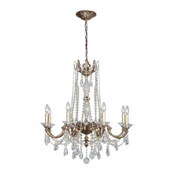Crystorama - Crystorama 2228-RB-CL-MWP Delancey 8 Light Chandeliers in Roman Bronze - Bronze, gold and solid brass are back in fashion. The Delancey collection embraces this trend, combining our sumptuous Roman bronze finish with handcrafted arms, clear cut crystal swags and curvy pendants.