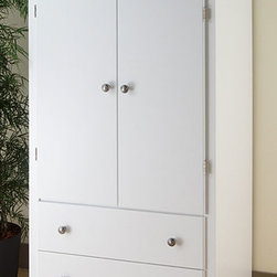None - Winslow White 2-drawer Armoire - Elegant and multifunctional, the Winslow 2 Door Armoire is a must for any space-conscious bedroom. The cabinet behind the double doors can serve as an entertainment center for a small TV, or you can use the included hanging rod to keep clothes organized.