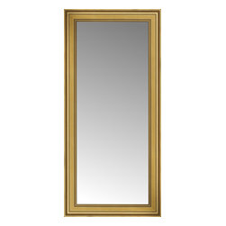 """Posters 2 Prints, LLC - 26"""" x 53"""" Arqadia Gold Traditional Custom Framed Mirror - 26"""" x 53"""" Custom Framed Mirror made by Posters 2 Prints. Standard glass with unrivaled selection of crafted mirror frames.  Protected with category II safety backing to keep glass fragments together should the mirror be accidentally broken.  Safe arrival guaranteed.  Made in the United States of America"""