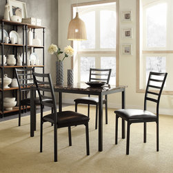 Tribecca Home - TRIBECCA HOME Darcy II Faux Marble Top Black Metal 5-piece Casual Dining Set - Add simplistic elegance to your dining room decor with this casual dining set. The sleek black table features a decorative faux marble top and each curved black metal chair has a comfortable dark brown upholstered seat.