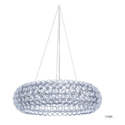 Nuevo Living - Bulle Pendant Lamp, Large - Acrylic is the new crystal — and this fixture redefines fabulous for your favorite setting. The wheel-shaped shade formed from clear baubles does enchanting things with light — it's a celestial centerpiece for your ceiling.