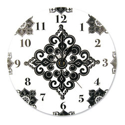 Trend Lab - Wall Clock -Versailles Black And White - Complement any room with this stylish Versailles Black & White Clock by Trend Lab. This circular clock features a black and white damask print with black numbers. Mounting hardware is attached to the back for easy hanging. Runs on one AA battery (not included).