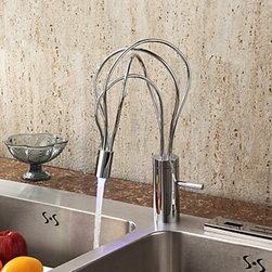 Kitchen Sink Faucets - LED Single Handle Chrome Centerset Faucet (Cold & Hot Switch) (0599-QH0500)--FaucetSuperDeal.com