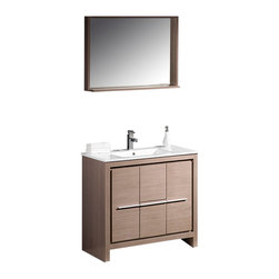 "Fresca - Allier 36"" Gray Oak Vanity w/ Mirror Cascata Brushed Nickel Faucet - The Fresca 36"" Allier is a sleek, modern free standing vanity with plenty of storage space.  This model is accented nicely with a matching mirror with small shelf.     Many faucet styles to choose from."