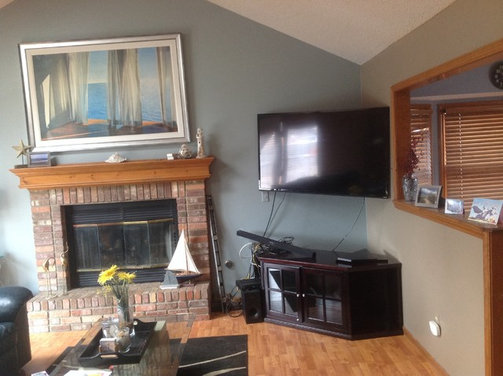 "What to put under 60"" corner mounted tv to hold cable ..."