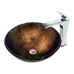 Vigo - Vigo Lava Vessel Sink and Faucet - With a deep red hue that, in the light, reveals yellows and oranges, the Fresh Lava Vessel Sink and Faucet recalls the color and movement of smoldering lava. Featuring a solid-brass constructed faucet with a polished chrome finish and top-set, single lever, the Lava Vessel Sink and Faucet set is a mesmerizing addition to any bathroom