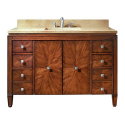 AVANITY BRENTWOOD 49 in. Bathroom Vanity - The Brentwood Collection features a new luxurious walnut finish with a transitional styling that would compliment any bathroom. Hand-crafted out of solid poplar wood and elm veneers, wood-matched design soft-close doors and antique nickel door knobs.