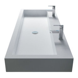 White Wall-Hung Stone Resin Sink, White, 39.4 L x 18.9 W x 4.7 H Inches, Glossy