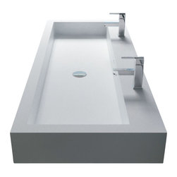 ADM - White Wall-Hung Solid Surface Stone Resin Sink, Glossy - DW-135