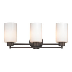 Design Classics Lighting - Neuvelle Bronze Modern Bathroom Light with White Glass - 703-220 GL1024C - Contemporary / modern neuvelle bronze 3-light bathroom light. A socket ring may be required if installed facing down. Takes (3) 100-watt incandescent A19 bulb(s). Bulb(s) sold separately. UL listed. Damp location rated.