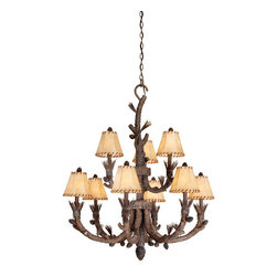Vaxcel - 9L Chandelier Finish w/ Shades - Vaxcel Lighting AS-CHS009PT 9 Light Aspen Chandelier This item by Vaxcel Lighting is offered in a pine tree finish. It is offered with faux leather shad