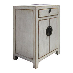 Golden Lotus - Chinese Rustic Solid Elm Wood Slate White Color Nightstand End Table - Look at this Chinese simple design nightstand end table which is made of solid elm wood.  It comes with white color.
