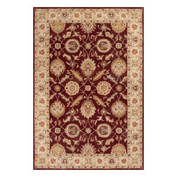 Jaipur Rugs - Hand-Tufted Oriental Pattern Wool Red/Taupe Area Rug (2.6 x 4) - Sublime hues and graceful lines accentuate the traditional pattern motifs in Mythos, an elegant and value-driven range of durable, hand-tufted area rugs. This sophisticated collection is for the discriminating consumer with a passion for traditional design, at prices that answer every budget. The Mythos Collection is tradition, redefined.