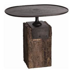 Arteriors Home - Arteriors Home Anvil Cast Iron/Reclaimed Wood Tea Table  - Arteriors Home DD2027 - Arteriors Home DD2027 - Memories of his grandfather's Tennessee barn inspired the marriage of the wood block base of his anvil and shapes of vintage 19th century cake stands. Maintaining Arteriors' continued commitment to ecological awareness, they found artisans who work in reclaimed wood and hand forged metal to capture the authentic nature of Barry Dixon's design.