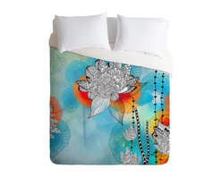 Iveta Abolina Coral King Duvet Cover - Wake up on the bright side of the bed with this fun duvet cover. Made from soft woven polyester, it features stylized blooms and tendrils custom-printed in aqua, blue, tangerine, black and white. Pop in your favorite duvet, zip the hidden zipper and rest easy.