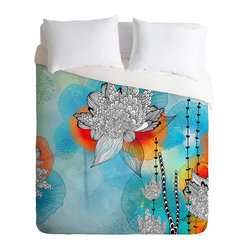 DENY Designs - Iveta Abolina Coral Duvet Cover, King - Wake up on the bright side of the bed with this fun duvet cover. Made from soft woven polyester, it features stylized blooms and tendrils custom-printed in aqua, blue, tangerine, black and white. Pop in your favorite duvet, zip the hidden zipper and rest easy.