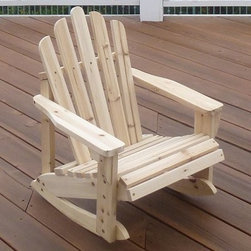 Shine Company Westport Adirondack Kids Rocker - The Shine Company Westport Adirondack Kids Rocker promises peaceful afternoons on the porch for young an old alike. This charming rocking chair features a classic Adirondack style with a straight back and slatted design. Solid cedar is used to construct the piece and is naturally-resistant to moisture and insect decay. The unit is available in your choice of either a white polyurethane finish or a natural unfinished look. Rust-resistant galvanized steel screws and hardware are included piece requires some minimal assembly. Piece can support up to 150 lbs.About Shine Co.Shine Co. has been producing quality wood furniture, home accents, and decorative pieces for over 30 years. It has an honest, straightforward mission to supply its customers with charming, functional pieces made of natural materials. Each piece is assembled by an experienced craftsman with great care and attention to detail.