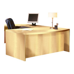 "Mayline - Mayline Aberdeen Bow Front Desk Shell in Maple-72"" - Mayline - Computer Desks - ABD7242LMA - The Aberdeen Series of laminate case goods combine fashionable aesthetics and unparalleled quality all in a package that is surprisingly affordable. Aberdeen�s transitional style allows it to fit into any environment whether it be modular multi-station work areas or executive offices. Aberdeen provides exceptional abrasion and stain resistance along with technology and cable friendly components."