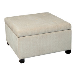 Great Deal Furniture - Wilshire Beige Fabric Storage Ottoman - The Wilshire ottoman is a great piece for your storage needs. Upholstered in beige polyester fabric, this piece features a button tufted top, which opens up to the storage compartment and can also be used for additional seating. The square shape makes it perfect for small spaces and for keeping your home clutter free.