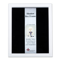 """Lawrence Frames - White Wood Shadow Box 8x10 Picture Frame - This high quality wood shadow box frame comes with everything you need to create the perfect memory box.  With 1.75"""" of space inside (between the glass and felt display board), you will have plenty of room to add treasured items, photos, and clippings.  A self adhesive hook and loop strip is included that can be cut and placed anywhere you wish on the black felt inner lining.  This beautiful shadow box frame is constructed with quality in mind and is joined in the corners with a """"spline"""" joint for years of enjoyment.  The molding is approximately 3 4 """" wide, and 2 5 8"""" deep.  This shadow box frame comes individually boxed, and includes high quality black wood backing.  These display boxes can stand on their own for tabletop display, or can be displayed on the wall with included hangers for vertical or horizontal wall mounting."""