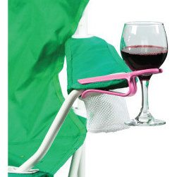 The Wine Hook - Wine Glass Holder for your outdoor chair - Holds your Wine Glass or any stemmed glassware while using your outdoor chair.  Works on most outdoor chairs including Adirondack, camp chairs and many others.
