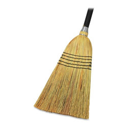 Genuine Joe - Genuine Joe Janitor Lobby Blend Broom - 11 Wide - 1 Each - Janitor lobby blend broom is made with natural fibers for durable long life and efficient sweeping. Double-stitched, nylon cord, bound fibers are wire-wrapped onto a 56 wood handle.