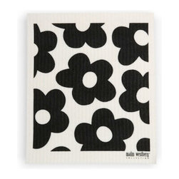 Swedish Dishcloth Blommer Flowers, Black - THE SWEDISH ECO-FRIENDLY DISHCLOTH: The dry sponge cloth was invented in 1949 by the Swedish engineer Curt Lindquist, who discovered that a mixture of natural cellulose (wood pulp) and cotton can absorb an incredible 15 times its own weight in water.