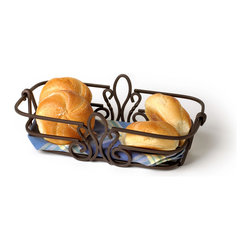 Spectrum Diversified Designs - Patrice Bread Basket - Bronze - The Patrice Bread Basket is ideal for serving bread, rolls and muffins. Made of sturdy bronze steel and accented with a fleur de lis motif. A favorite hospitality item for restaurants and hotels.