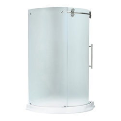 "VIGO Industries - VIGO 40x40 Frameless Round 5/16"" Shower, Right-Sided Door W White Base - Make your bathroom an oasis with a VIGO frameless round shower enclosure."