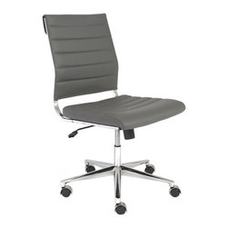 Eurostyle - Eurostyle Axel Low Back Office Chair in Gray & Aluminum - Low Back Office Chair in Gray & Aluminum belongs to Axel Collection by Eurostyle The Eurostyle Axel Low Back Collection, with or without arms, is ideal for any office setting. It features a leatherette seat with the back of the seat over foam, a chromed steel frame with aluminum base and hooded casters that won't scratch hardwood floors. Office Chair (1)