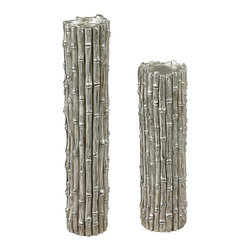 Sterling - Sterling 112-1123/S2 Silver Bamboo Set Of 2 Bamboo Pillar Candle Holders By Ster - Sterling 112-1123/S2 Silver Bamboo Set Of 2 Bamboo Pillar Candle Holders By Sterling
