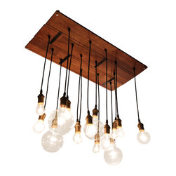 Urban Chandy - Reclaimed Hardwood Floor Chandy - Talk about floor-to-ceiling style. This unique chandelier is made from reclaimed Merbau hardwood flooring and varying vintage-looking bulbs. You'll see your eclectic decor in a whole new light.