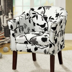 "Coaster - Accent Chair (Black/White Bird Pattern) By Coaster - Covered in a playful bird and branch fabric, this accent chair is not only stylish, but comfortable. Dims: 28"" X 25.50"" X 33""."