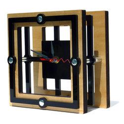 EllingWoods Design - Modern Geometric Square Desk Clock - Wood - Inspired by geometry these modern clocks